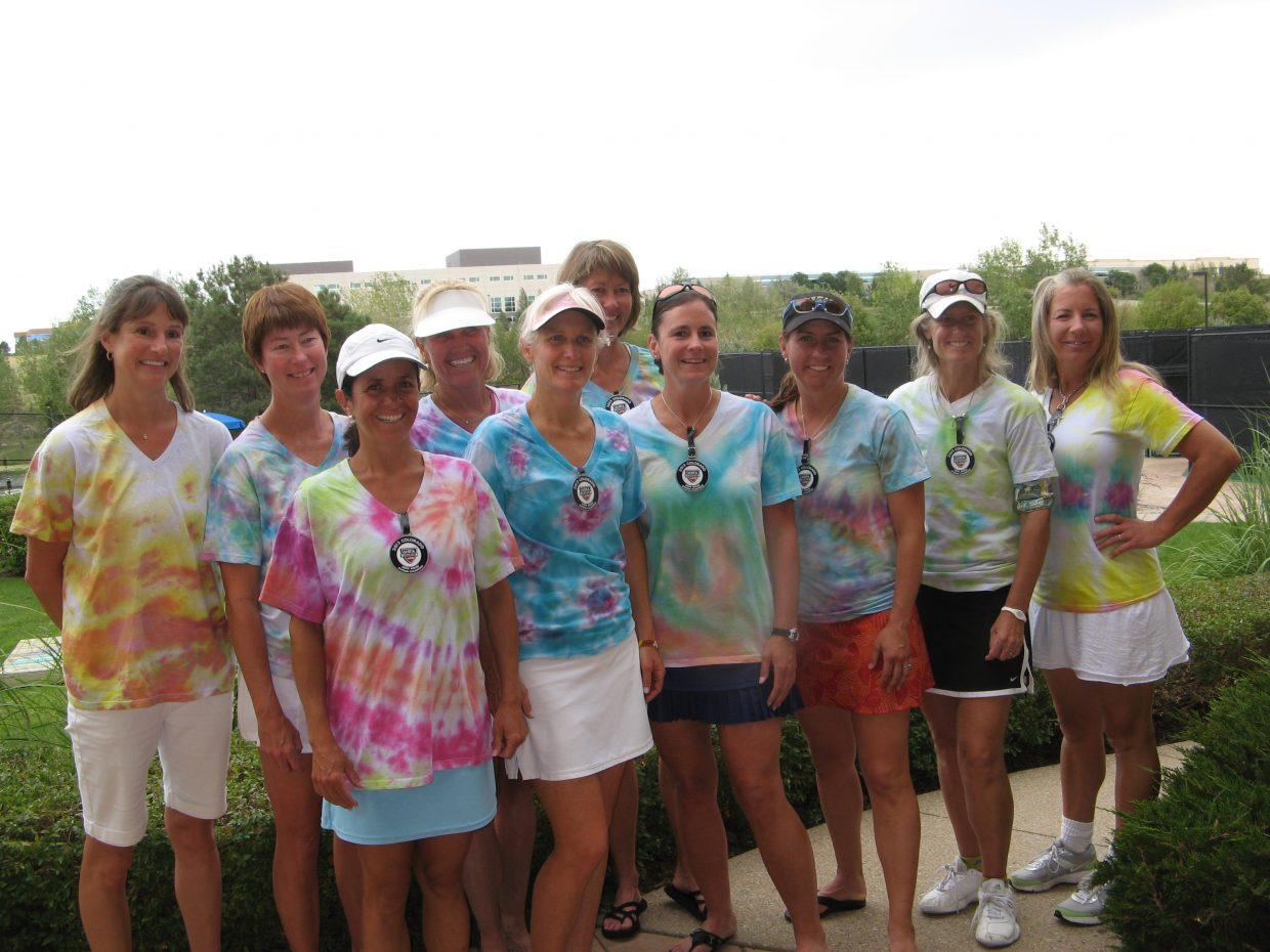 The Steamboat Springs' women's 4.5 tennis team is the division champion for the United States Tennis Association's Intermountain League, ending the season with an undefeated 6-0 record. Pictured from left are Emilie Rogers, Stacy Swiggart, Fabiola Katthain, Patty Kreutz, Lynne Meyers, Patrice Lorenzen, Meg Tully, Gillian Morris, Sheila Farny, Kelley Regan. Not pictured is Sue Swain. As division winners, the team went on to the Colorado District tournament in Denver, where it ended with two wins and one loss, a tie with two other teams. The winner was determined by the number of sets won by each team. Castle Rock took first place, Steamboat was second, Niwot was third and Grand Junction was fourth.