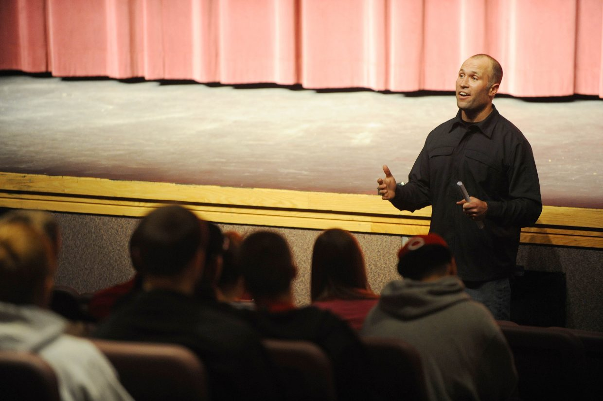 Ryan Wood, Under Armour founding member, speaks to students in 2010 as part of the Steamboat Springs High School Leadership Series. The series, which begins its third year Sunday, task student athletes with creating goals for the season and discussing how to meet those goals.