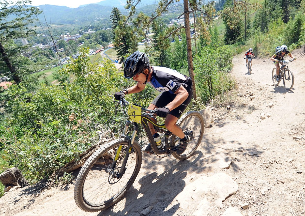 Riders work their way up the Steamboat Stinger course during the 2017 race. The event adds a Bumble Bee division this year, which includes a half-marathon option for runners in addition to their duo mountain bike race Saturday.
