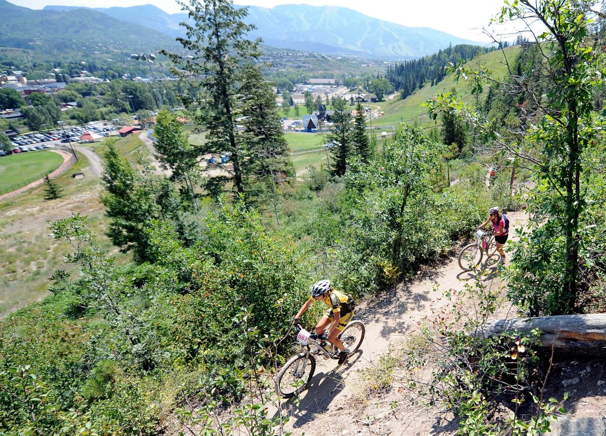 Riders tackle the Steamboat Stinger course Saturday in Steamboat Springs.