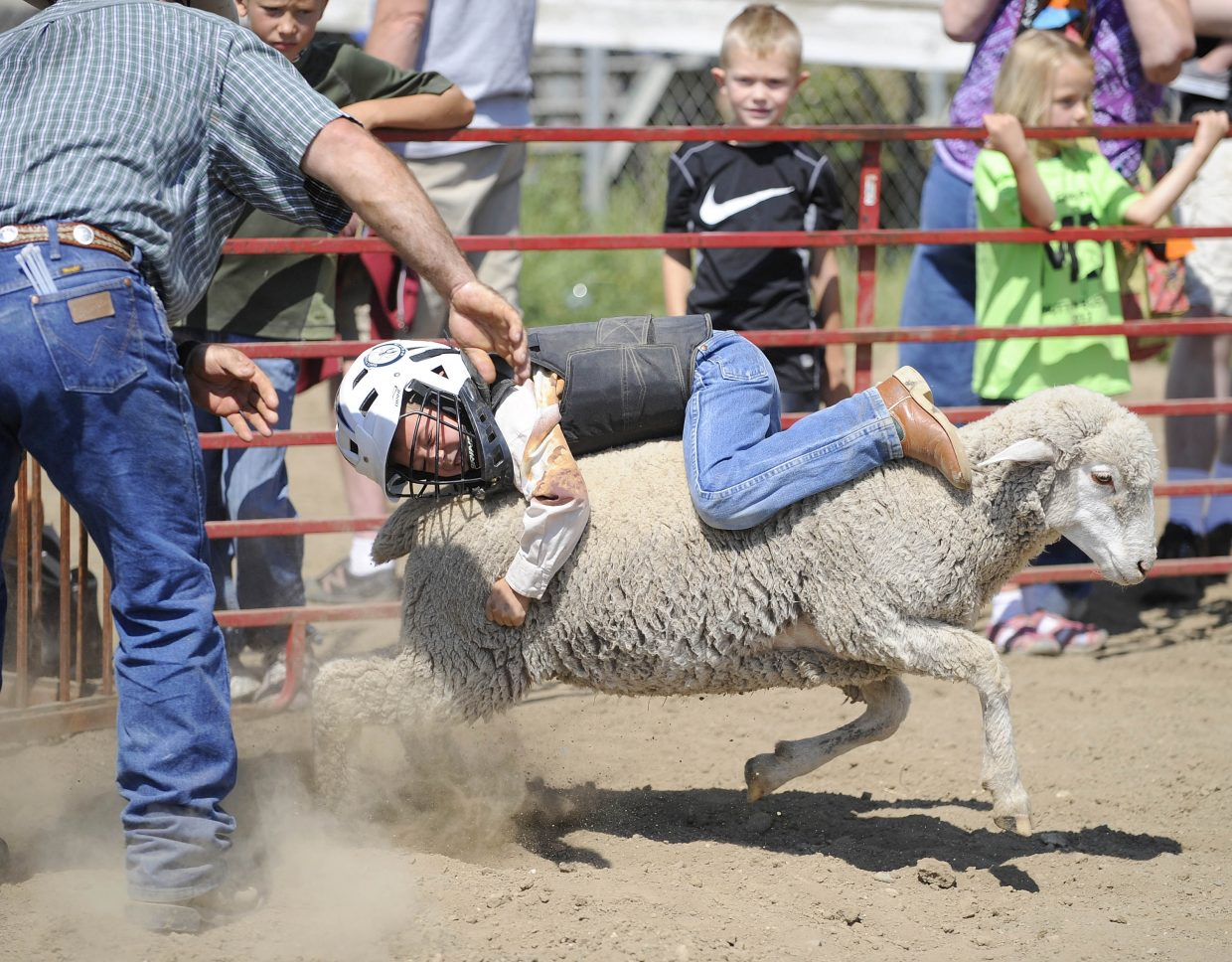 Joseph Planansky, 6, of Hayden, competes in the mutton bustin' competition Saturday at the Routt County Fair.