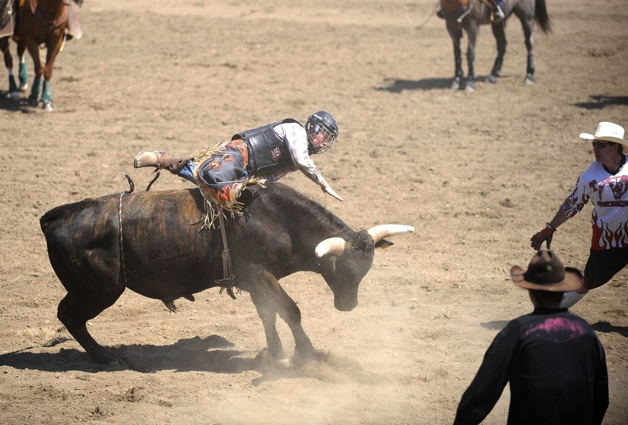 Kaiden Decker, 16, of Hayden, competes in the junior bull riding competition Saturday at the Routt County Fair. Kaiden won the competition.