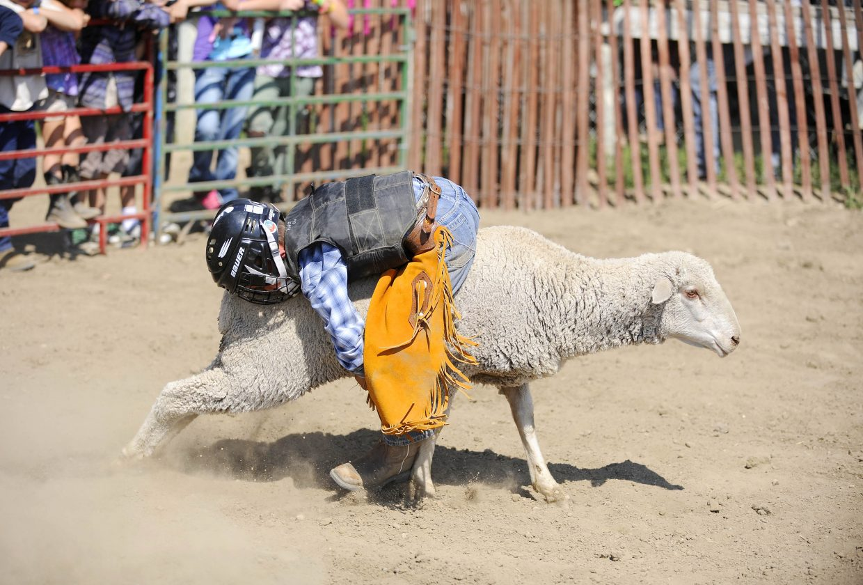Easton Eckrath, 7, of Craig, competes in the mutton bustin' competition Saturday at the Routt County Fair.