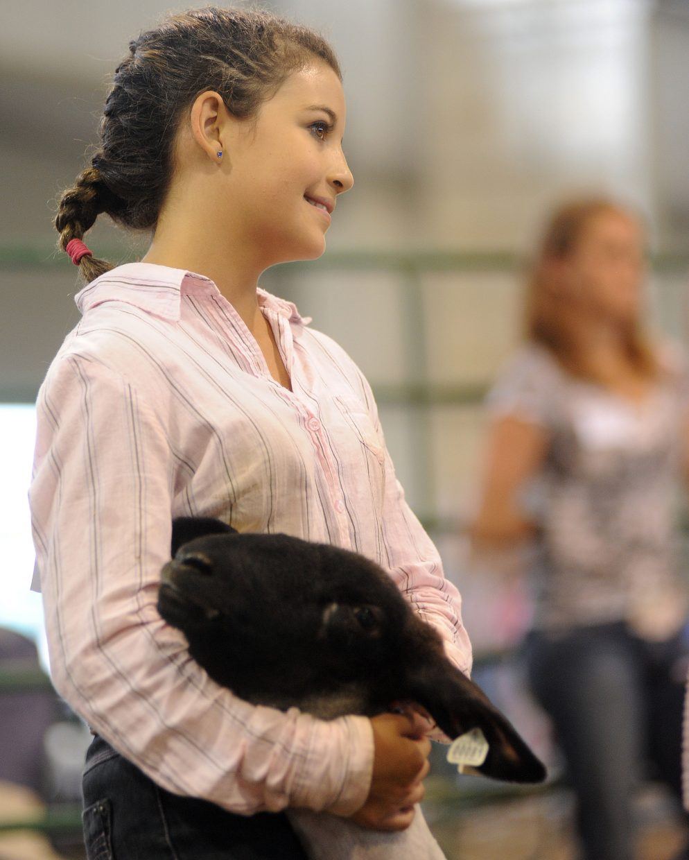 Shaelyn Salazar displays her lamb and waits for the judge Thursday during the lamb showmanship competition at the Routt County Fair in Hayden.
