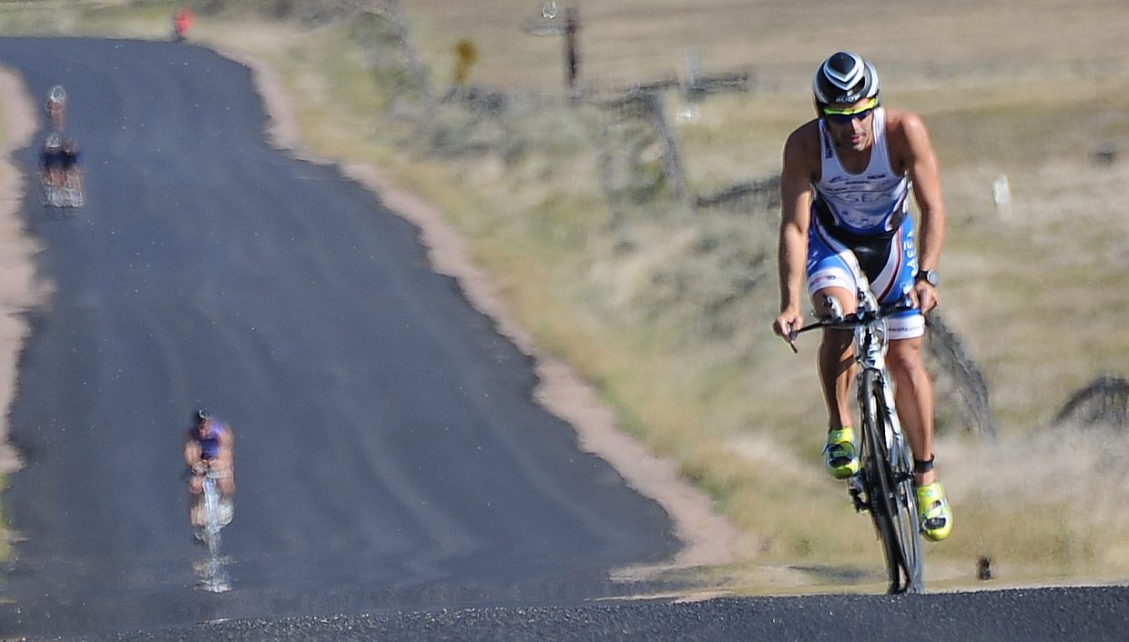 Cody Waite rides Sunday in the Steamboat Triathlon.