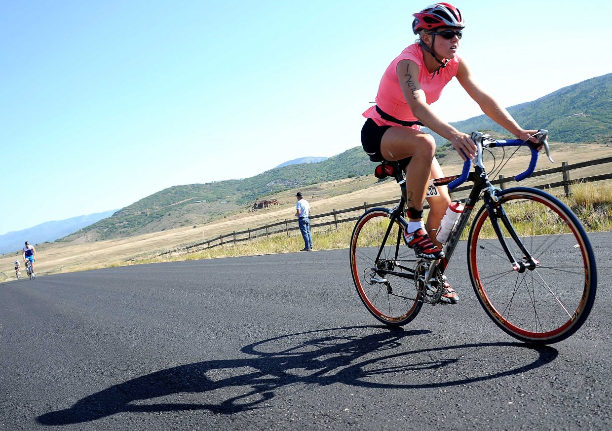 Kasia Rasker rides Sunday in the Steamboat Triathlon.