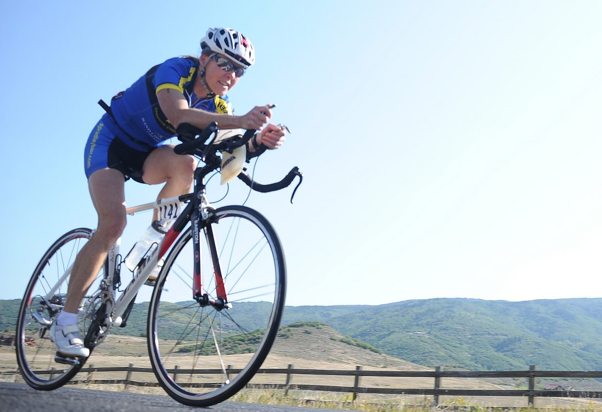 Cheyenne, Wyo., triathlete Chris Hall rides Sunday in the Steamboat Triathlon.