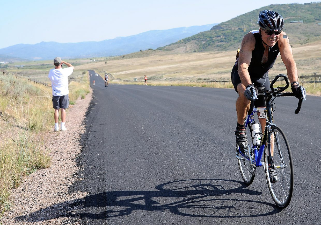 Steamboat's John Holland rides Sunday in the Steamboat Triathlon.