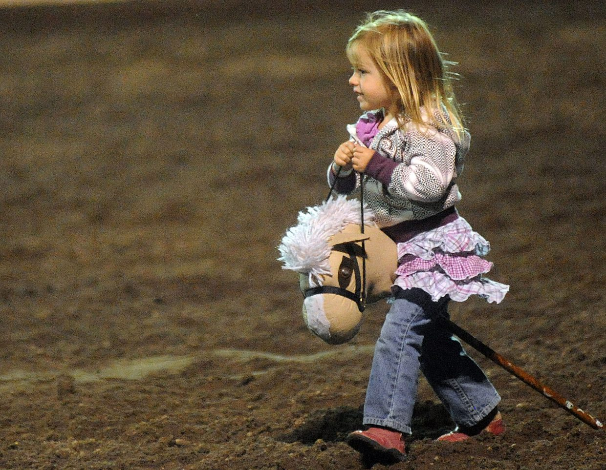 Only one calf scramble competitor thought to bring her own horse Saturday at the rodeo in Steamboat Springs.