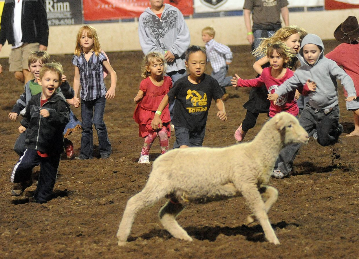 Children give chase Saturday during the ram scramble at the rodeo in Steamboat Springs.