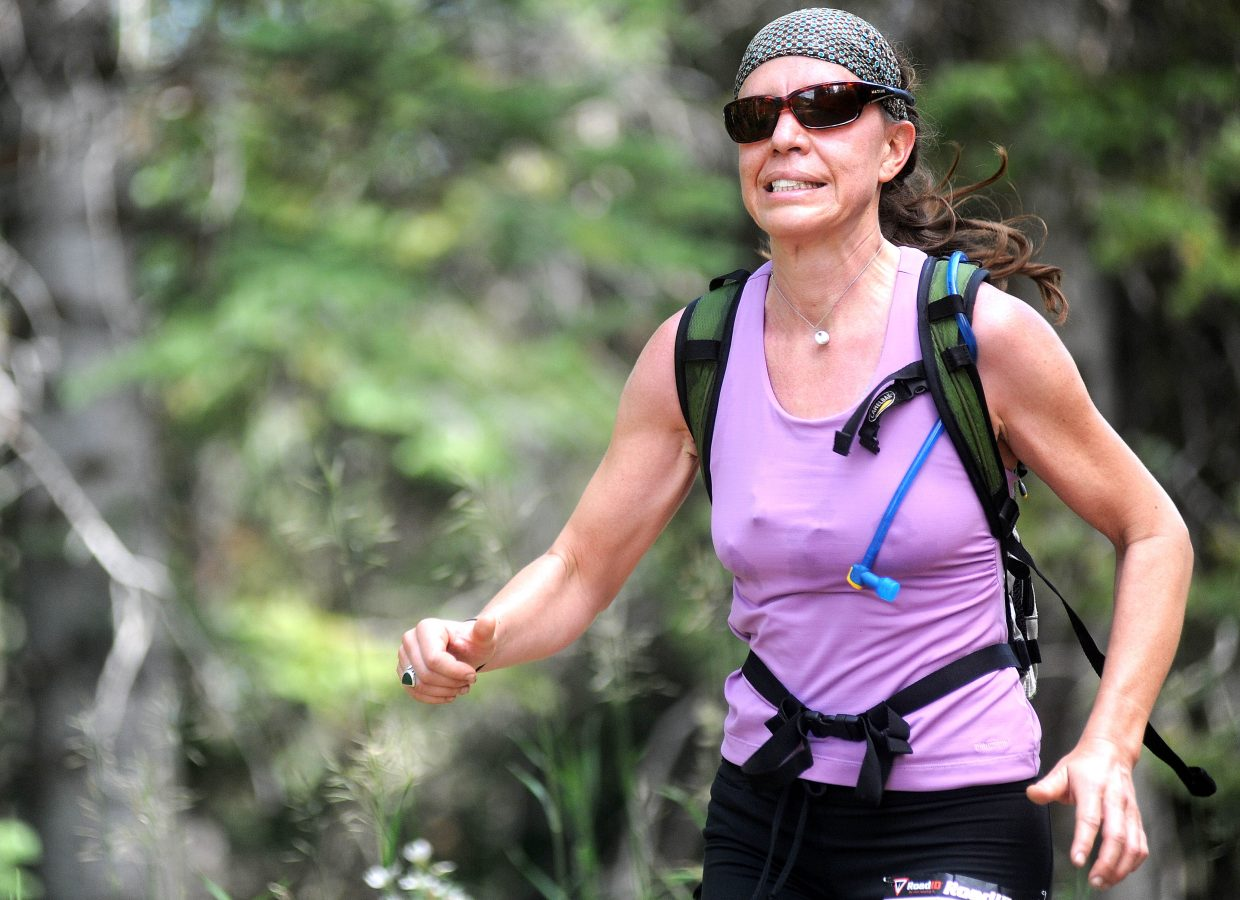 Merril Tydings runs Sunday in the Continental Trail Divide Run in Steamboat Springs.