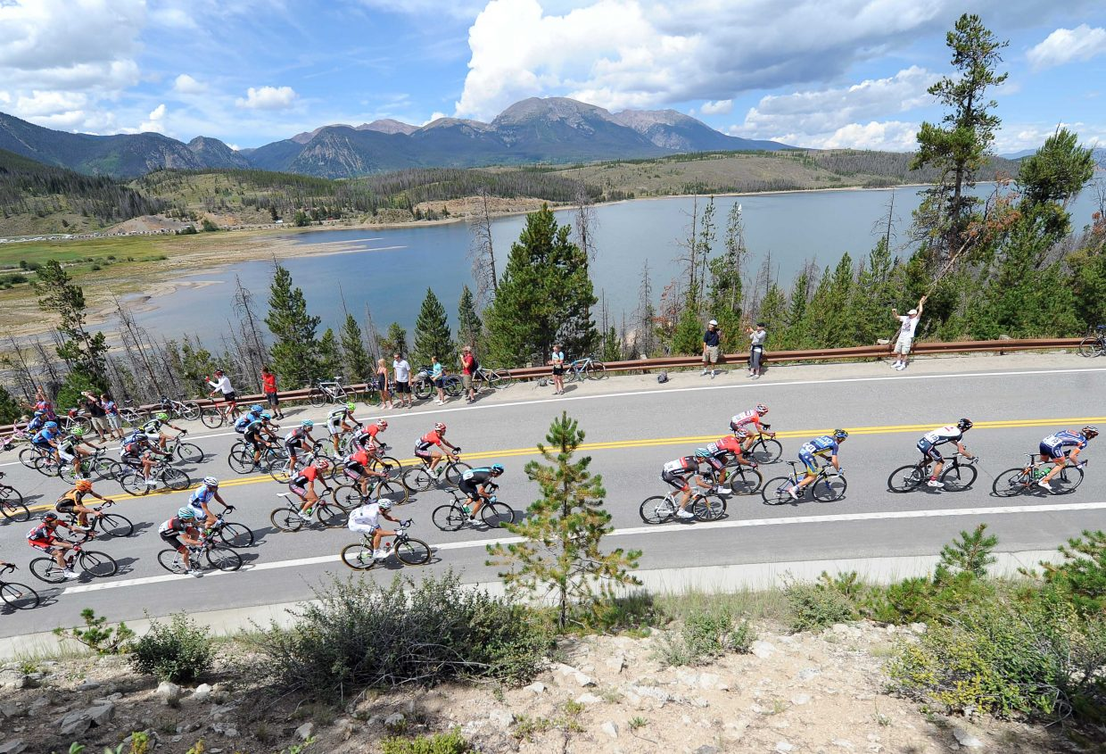 The peloton climbs up a steep road above Lake Dillon on Wednesday during Stage 3 of the USA Pro Challenge.