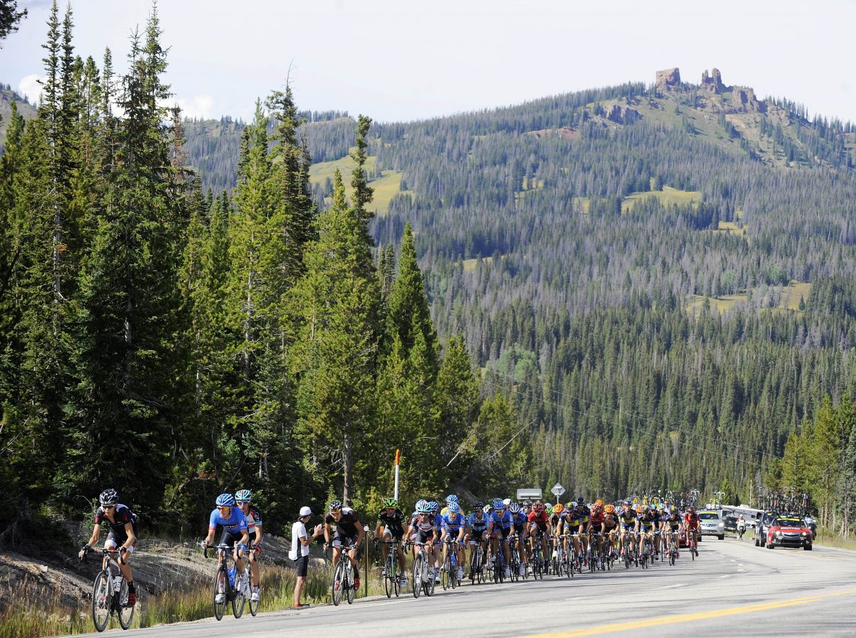 Cyclists climb toward the east summit of Rabbit Ears Pass on Wednesday during the USA Pro Challenge.
