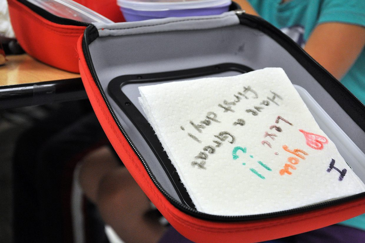 Lexi Vandenburg got a first day of school note in her lunch box Wednesday at South Routt Elementary School in Yampa.