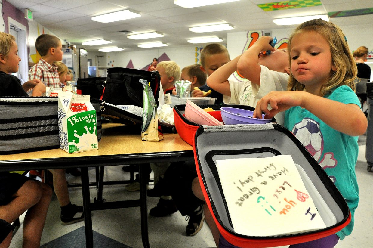 Lexi Vandenburg eats lunch Wednesday with her classmates at South Routt Elementary School in Yampa.