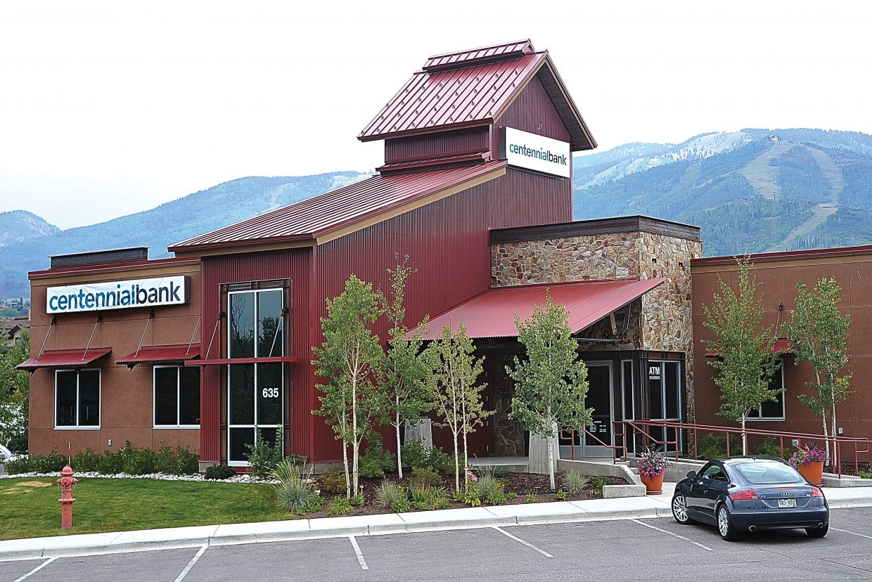 The signs on the outside of Millennium Bank in Steamboat Springs have been covered with temporary plastic one that reflect the establishment's new name, Centennial Bank.
