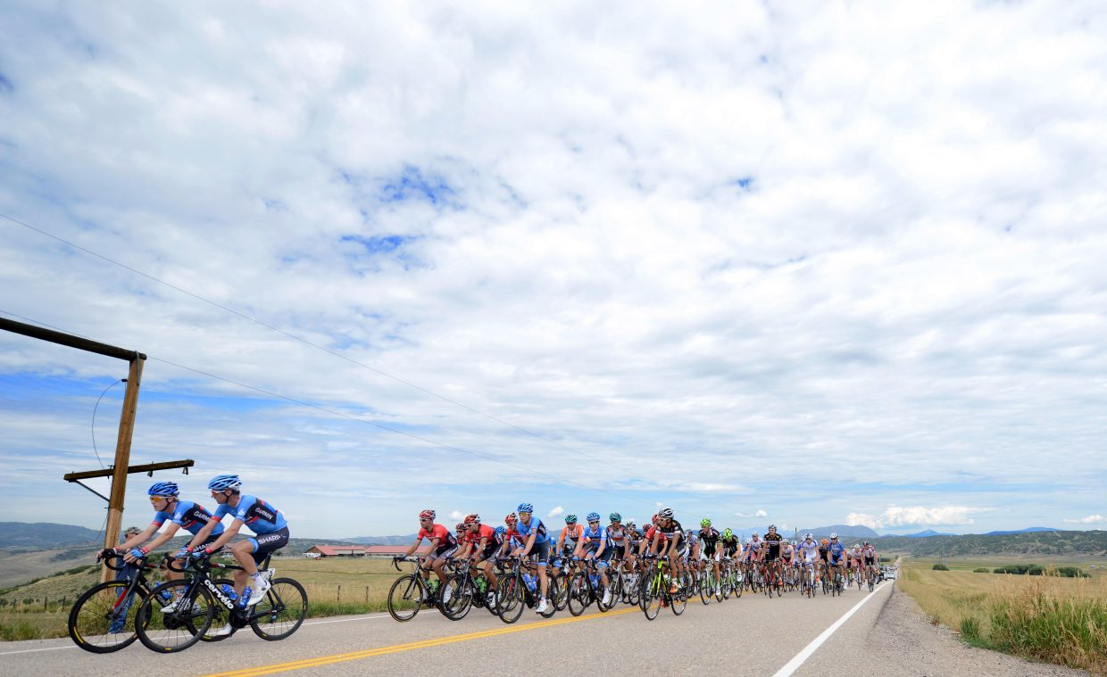 The peloton rides on Twentymile Road near Steamboat Springs on Thursday during Stage 4 of the USA Pro Challenge.