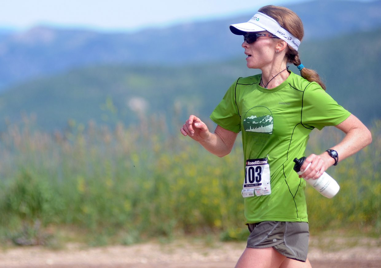 Helen Shine runs in the Continental Divide Trail Run in 2011. This year's race kicks off at 8 a.m. Saturday.