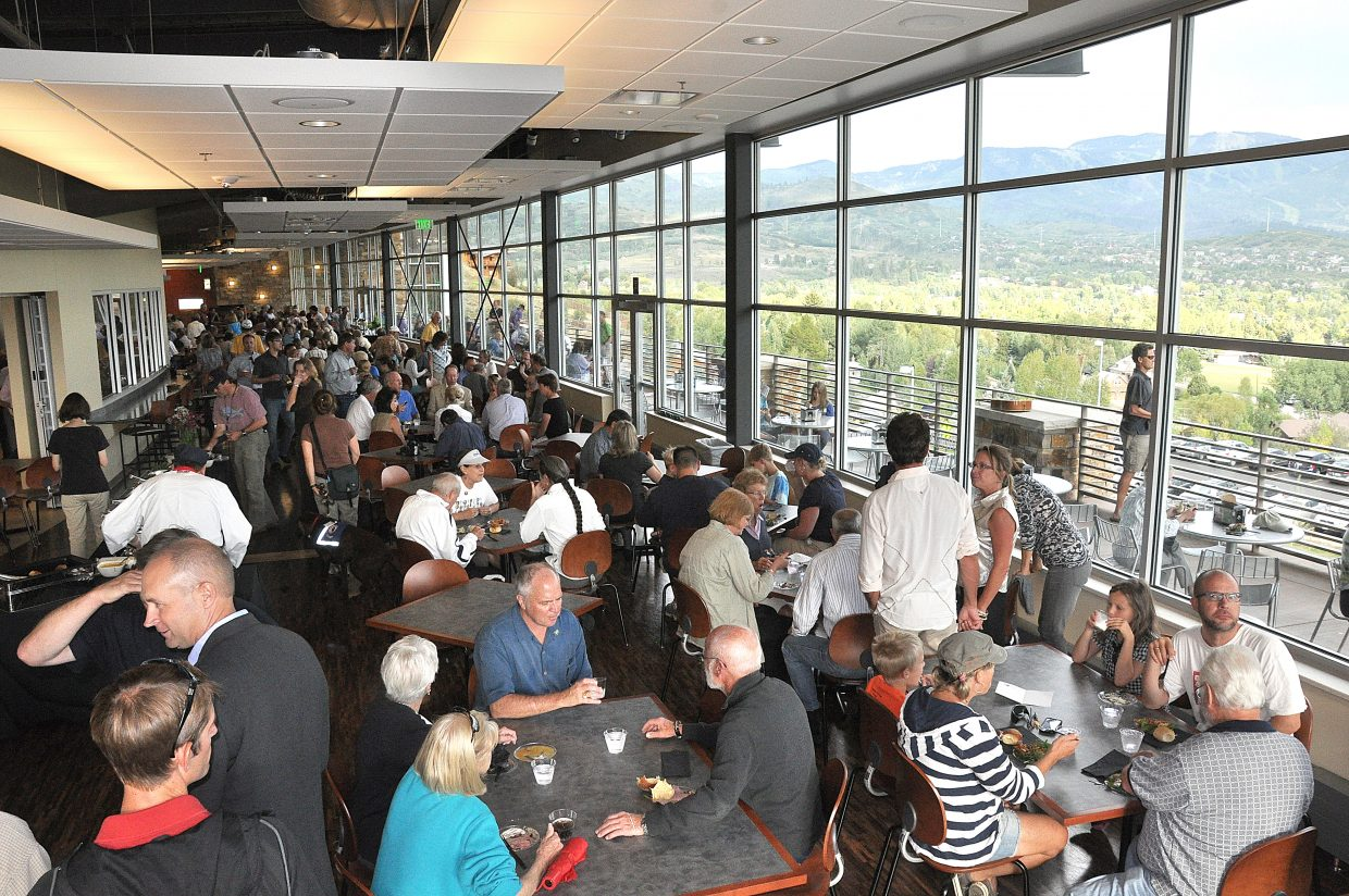 Crowds fill the dining hall Thursday inside the new academic center at Colorado Mountain College's Alpine Campus.