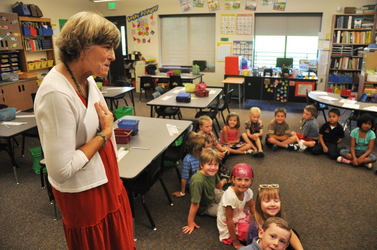 Strawberry Park Elementary School Principal Celia Dunham meets with a group of students Wednesday during the first day of school in Steamboat Springs.