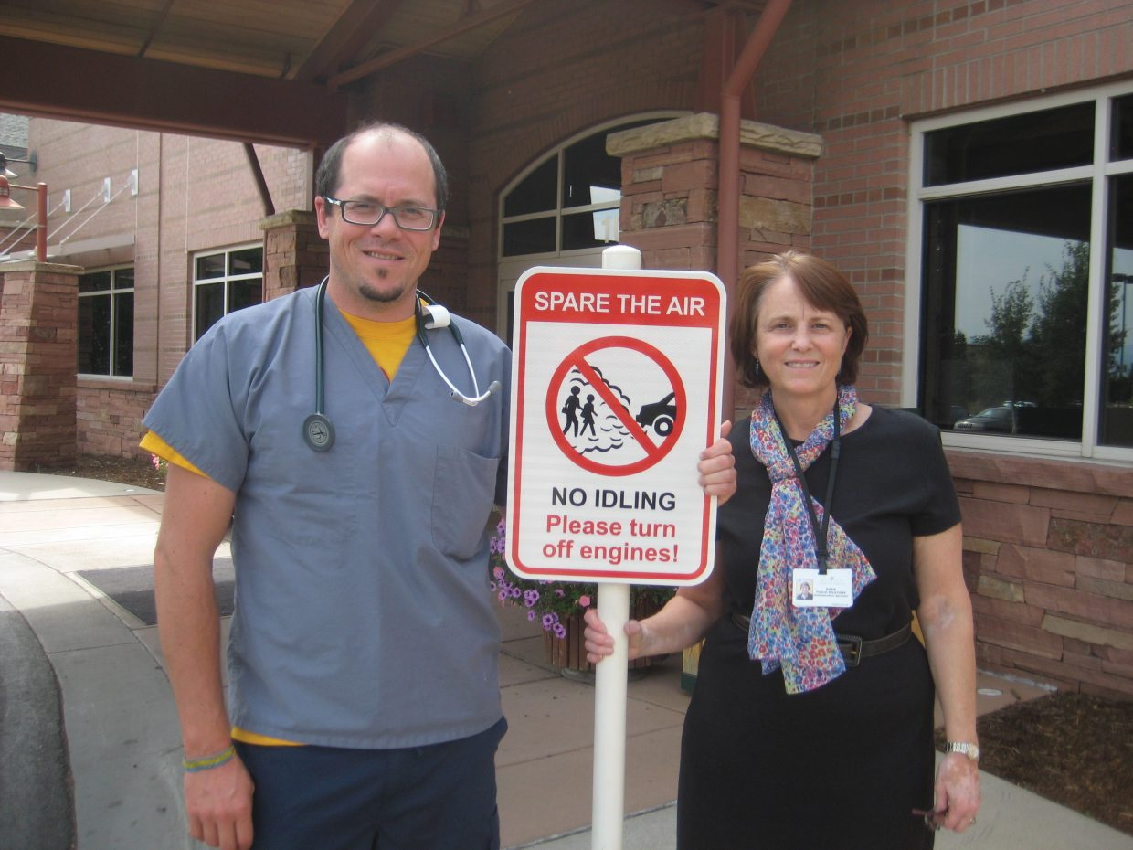 Yampa Valley Medical Center is a sponsor of the idling education campaign Spare the Air. Pictured are respiratory therapist Steve Fowler, left, and hospital Communications Manager Rosie Kern.