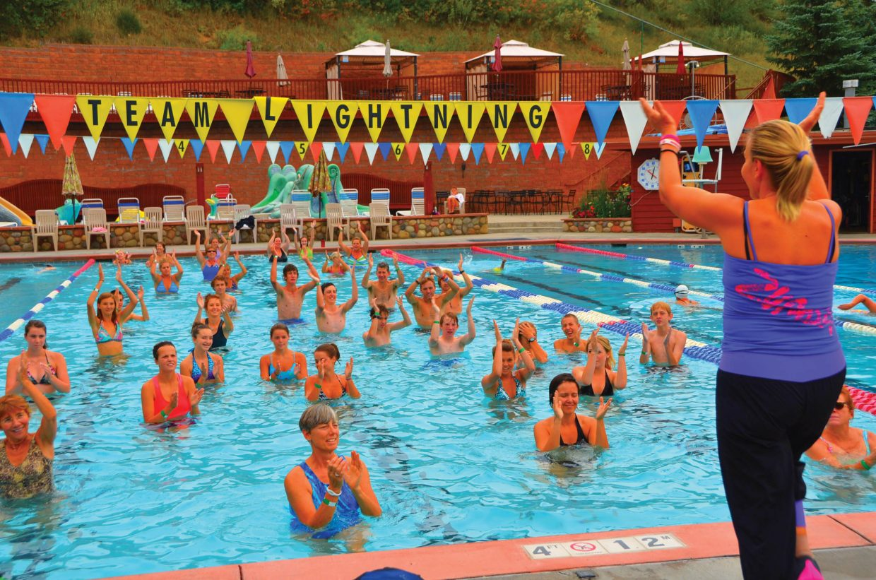 The Steamboat Springs High School cross-country team, coached by Greg Long, joined the Aqua Zumba class for some cross training Wednesday at Old Town Hot Springs.
