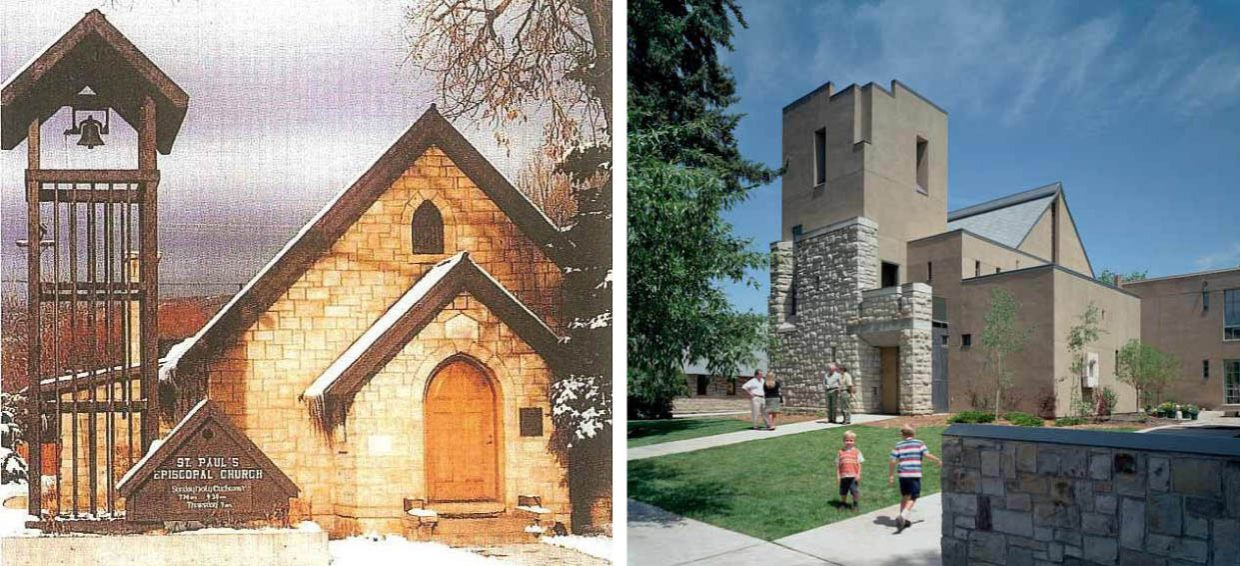 St. Paul's Episcopal Church then and now: The old stone church, consecrated in December 1913, pictured at left. The front of the new sanctuary, completed in 2002, with the old church in the background, pictured at right.