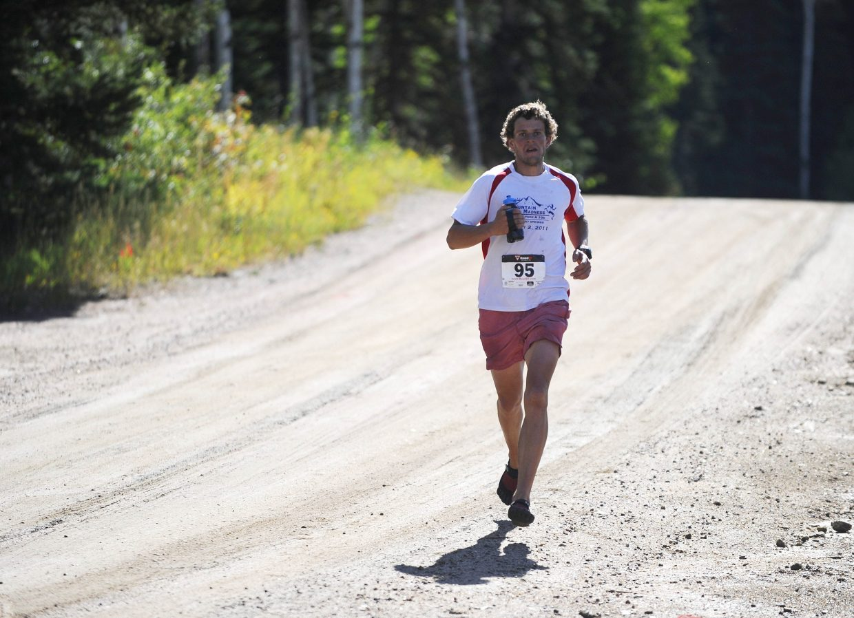 Steamboat Springs runner Eddie Rogers nears the finish line of the Continental Divide Trail Run on Saturday.
