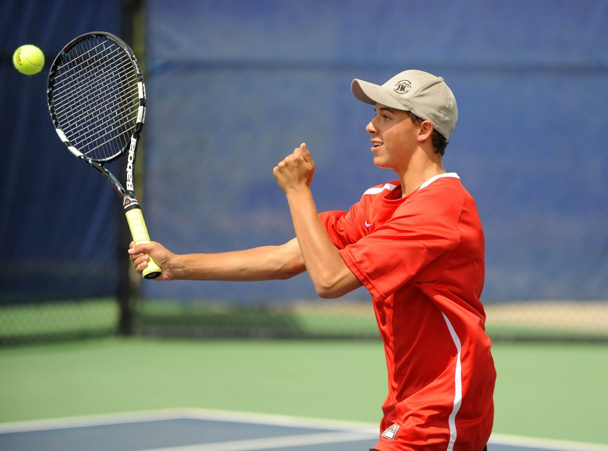 Steamboat Springs High School's Zach Dunklin hits the ball during Saturday's No. 1 doubles match.