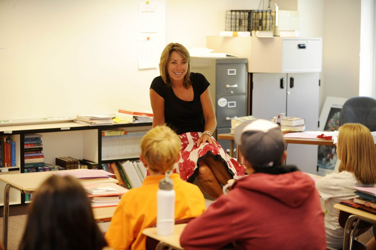 Steamboat Springs High School teacher Lisa Ruff talks with her freshman class during the first day of school Wednesday.
