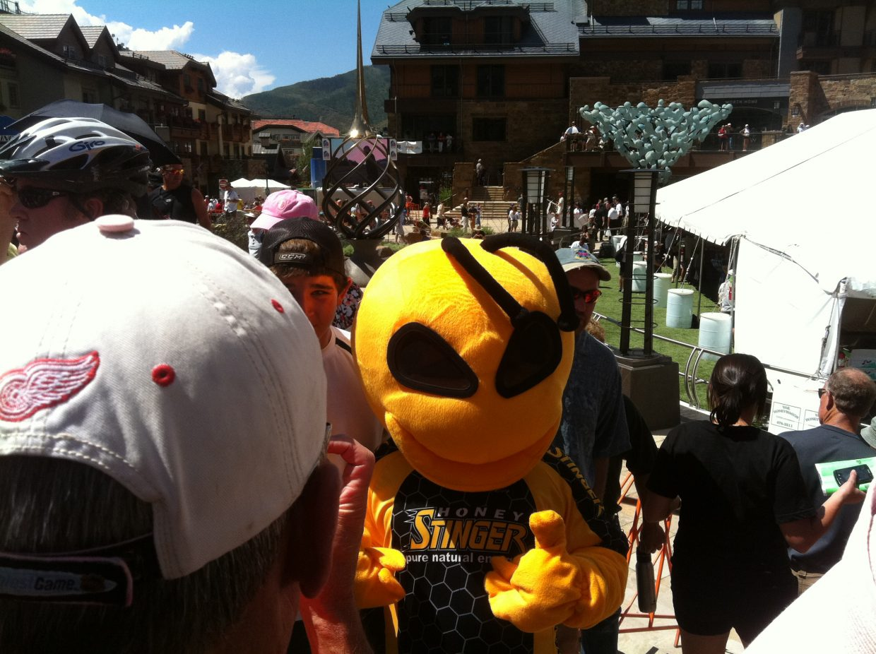 """Corey Prager, aka """"Buzz"""" the Honey Stinger bee, attracts a crowd Thursday in Vail."""