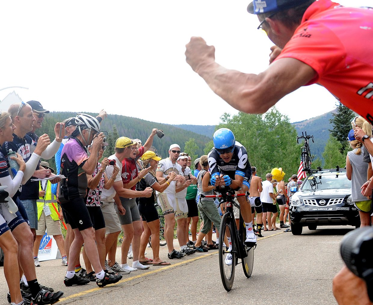 Tom Danielson races in front of fans Thursday at the USA Pro Cycling Challenge in Vail.
