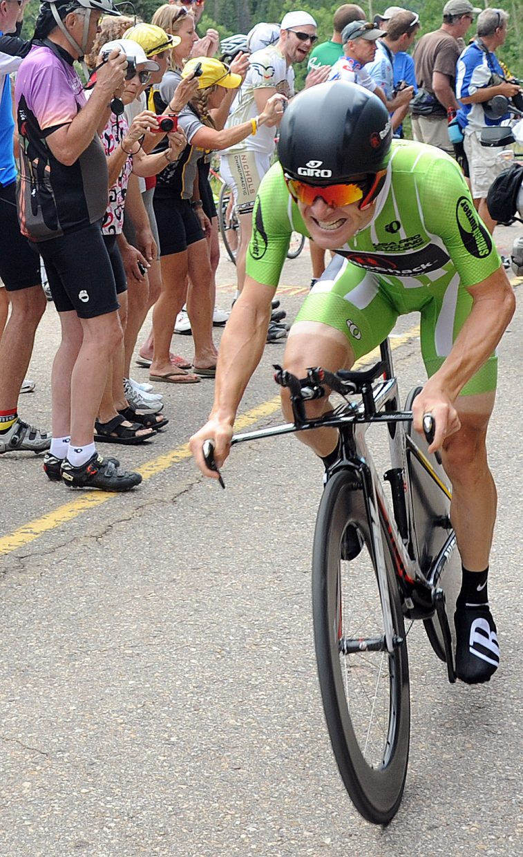 Levi Leipheimer races toward the finish of Stage 3 in the USA Pro Cycling Challenge in Vail.
