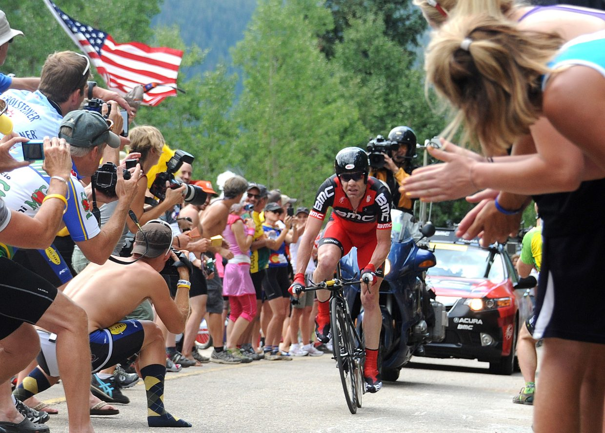 Tour de France champion Cadel Evans pushes toward the finish line Thursday during Stage 3 of the USA Pro Cycling Challenge in Vail. Racers will arrive in Steamboat Springs this afternoon for the Stage 4 finish and leave Saturday morning as part of Stage 5.