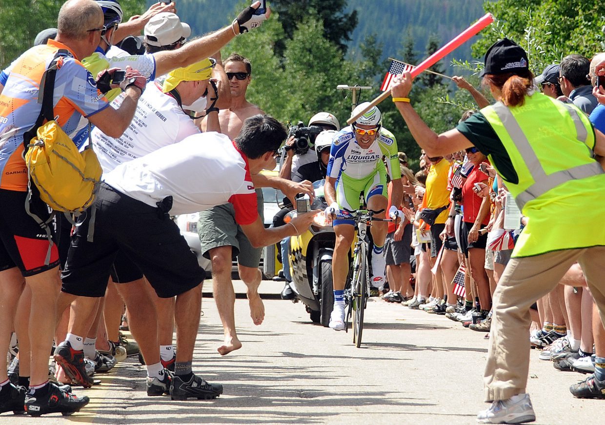 Ivan Basso pedals through the crowd Thursday during Stage 3 of the USA Pro Challenge in Vail.