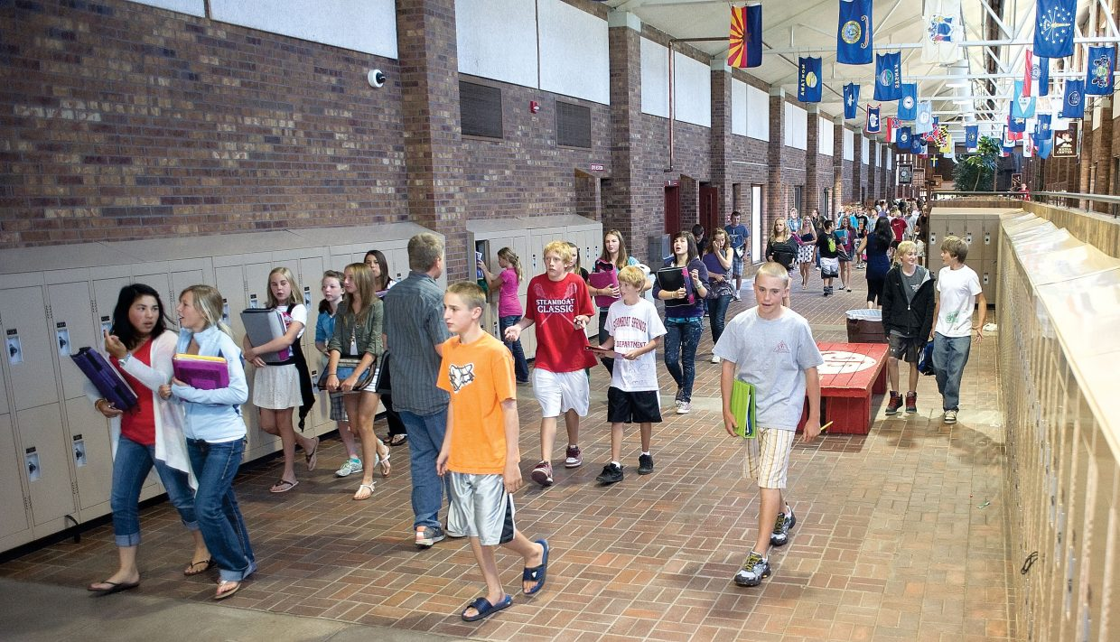 Students head to class at Steamboat Springs Middle School on Wednesday on the first day of classes in the school district.