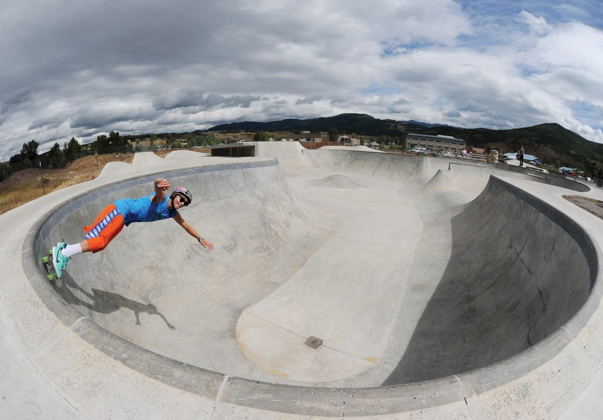 Local skateboarder Sammy Schuiling takes advantage of one of the final days of summer break to enjoy the Bear River Skate Park on Monday morning. Students in Steamboat Springs will be headed back to the classrooms by the end of the week.