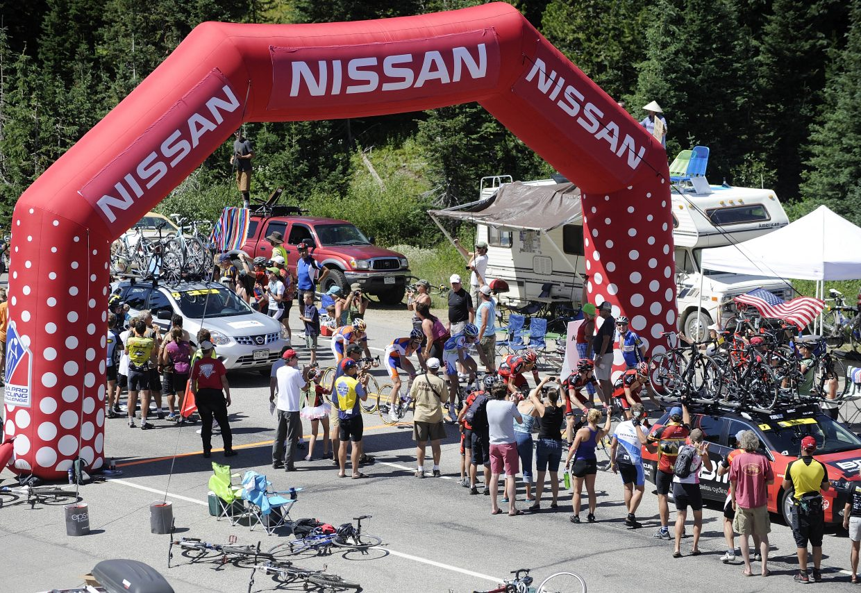 Riders reach the Rabbit Ears Pass west summit on Saturday during the USA Pro Cycling Challenge.