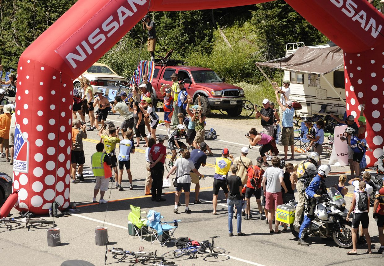 Rafael Anibal Montiel reaches the top of Rabbit Ears Pass first on Saturday during the USA Pro Cycling Tour.