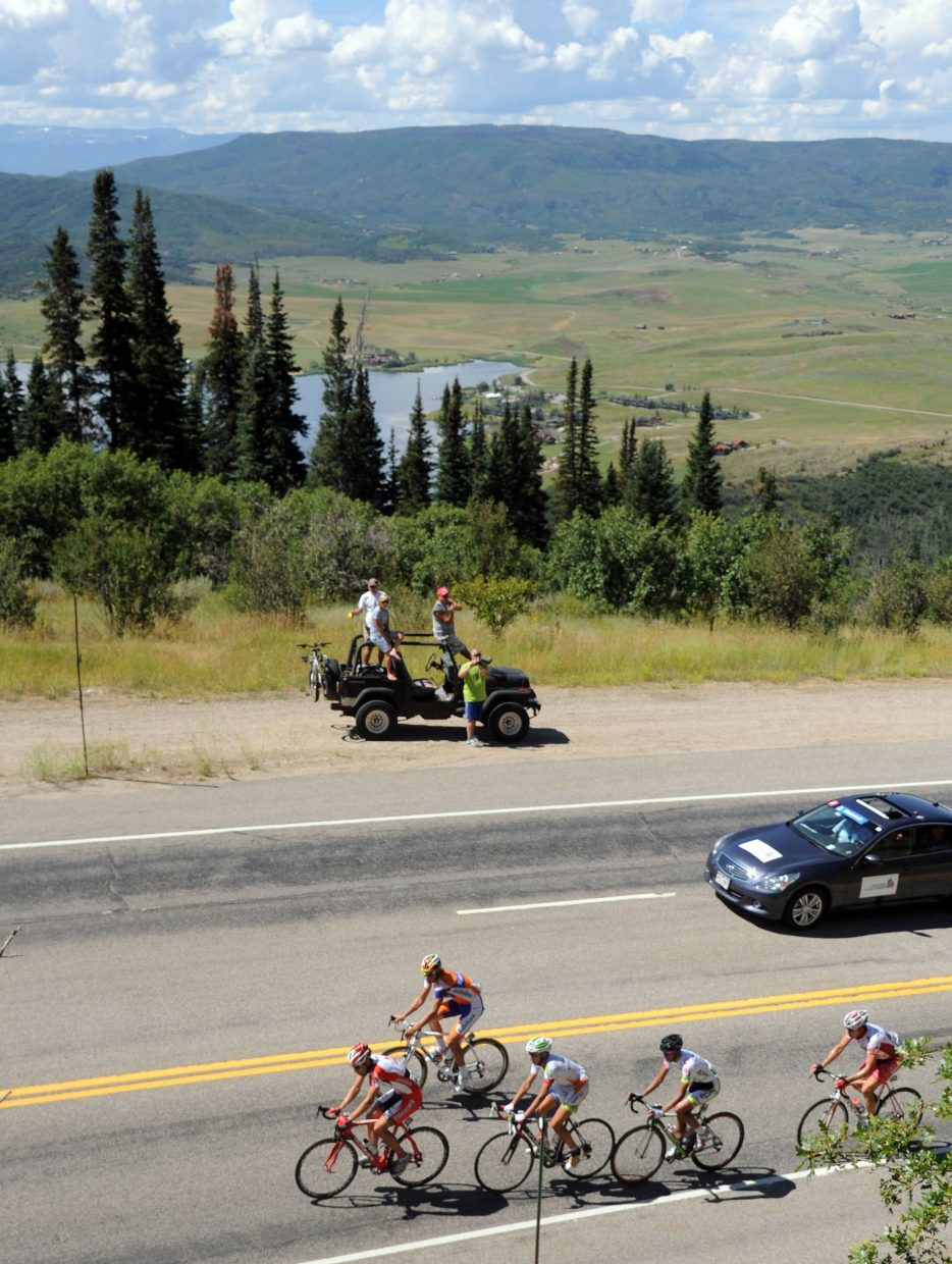 A breakaway group works its way up Rabbit Ears Pass on Saturday in the USA Pro Cycling Challenge.