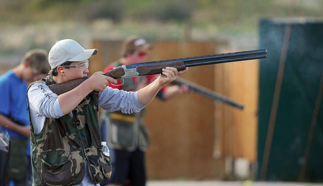 Richard Hallenbeck fires a shot Monday evening at the Routt County Rifle Club.
