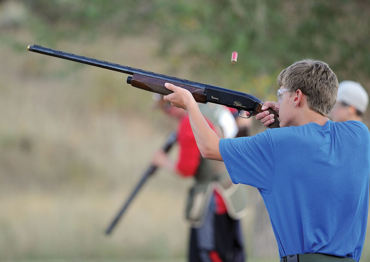 Grant Birkinbine fires a shot while practicing at the Routt County Rifle Club on Monday evening.