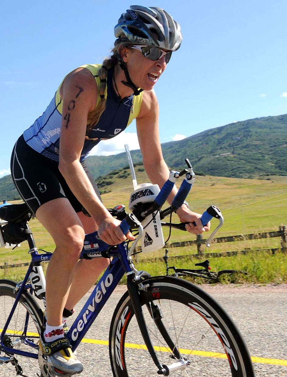 Elisabeth Lawaczeck, of Evergreen, rides Sunday in the Steamboat Springs Triathlon.
