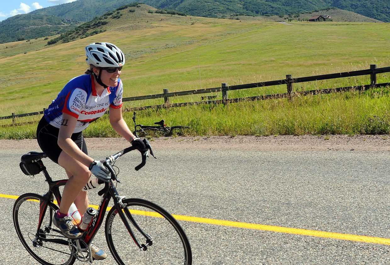 The rider from Steamboat relay team Team Go-Go! competes Sunday during the Steamboat Springs Triathlon.