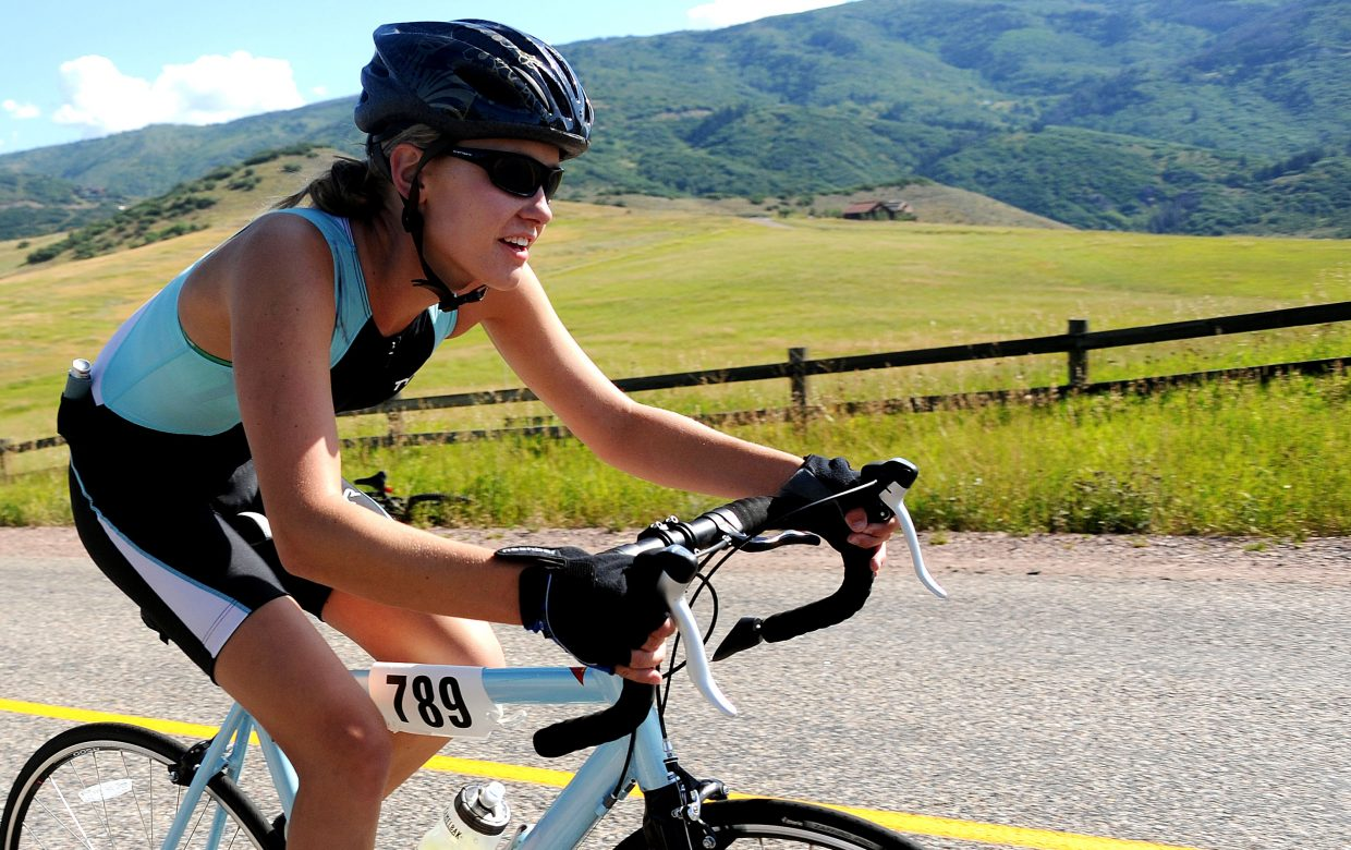 Steamboat Springs' Madison Ruppel, the youngest competitor in this year's Steamboat Springs Triathlon, races toward Lake Catamount on Sunday.