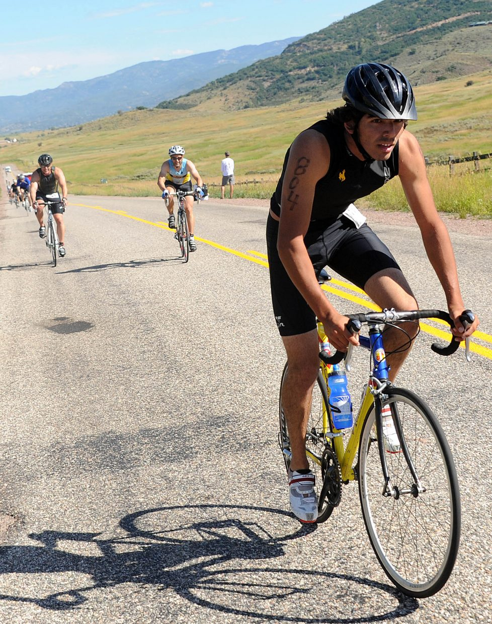 Joseph Shahidi leads a long line of riders Sunday in the Steamboat Springs Triathlon.