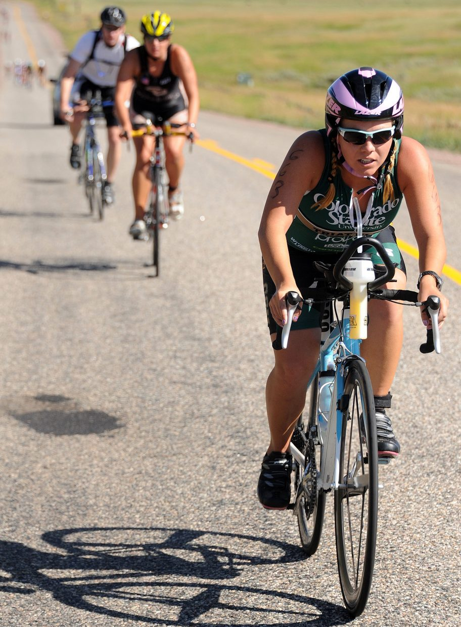 Bailey Hinz rides Sunday in the Steamboat Springs Triathlon.