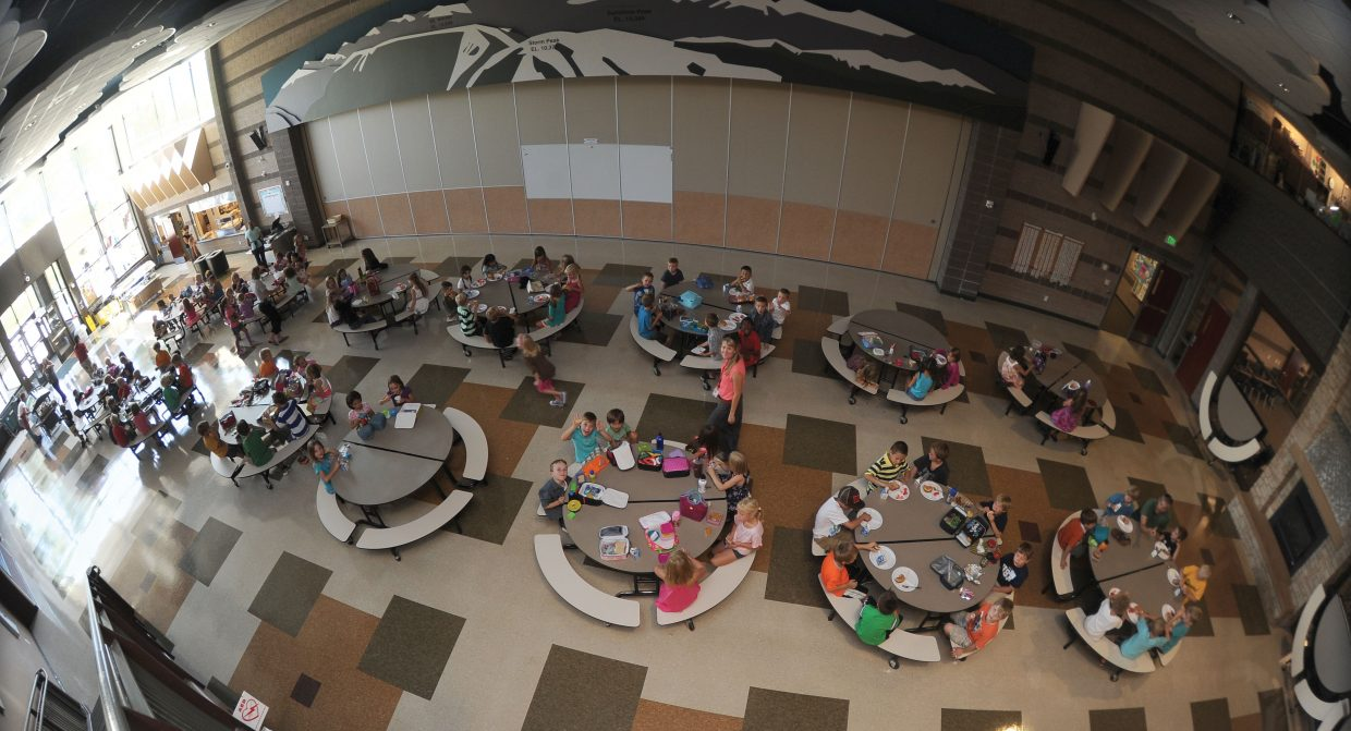 It was business as usual in the cafeteria at Soda Creek Elementary School on Wednesday as students headed back to class.