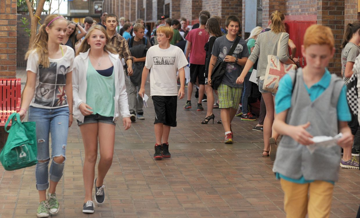 Students at Steamboat Springs Middle School head for home after the first day of classes.
