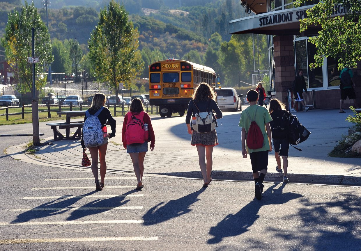 Students head back to class at Steamboat Springs High School on Wednesday morning, the first day of school for the Steamboat Springs School District's 2012-13 academic year.